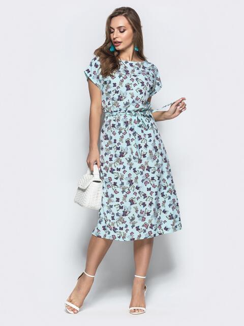 3b780d86e3d Приталенное платье-миди бирюзового цвета с принтом 21820 – купить в ...