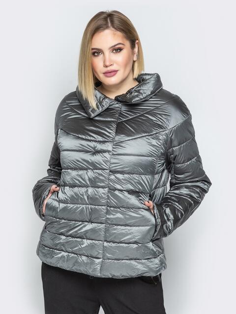 Серая куртка с высоким воротником и полукруглой кокеткой - 20316, фото 1 – интернет-магазин Dressa