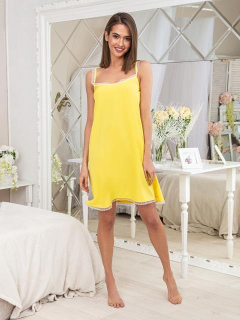 Жёлтая ночная рубашка из софта с кружевом - 20404, фото 1 – интернет-магазин Dressa