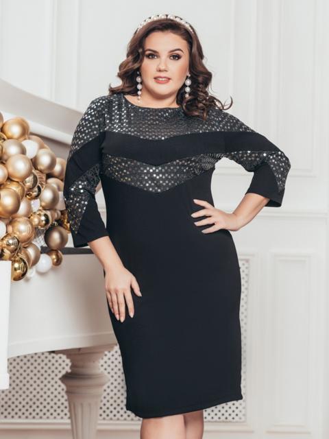 Чёрное платье приталенного кроя со вставками из пайеток - 43354, фото 1 – интернет-магазин Dressa