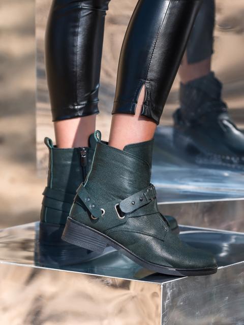 Демисезонные ботинки из кожи на молнии хаки - 41463, фото 1 – интернет-магазин Dressa