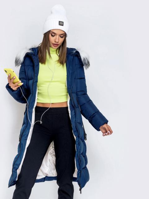 Длинная куртка со съемным капюшоном тёмно-синяя - 40163, фото 1 – интернет-магазин Dressa