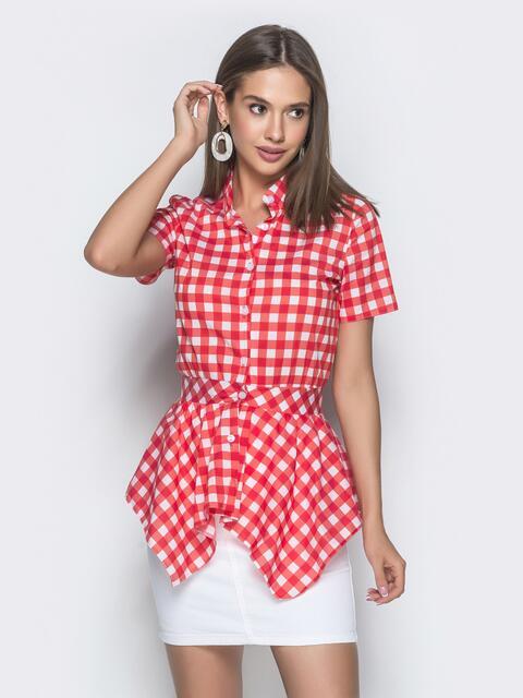 Красная блузка в клетку с асимметричной баской - 39339, фото 1 – интернет-магазин Dressa