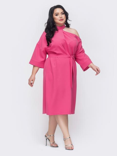 Платье батал с открытым плечом розовое 46323, фото 1