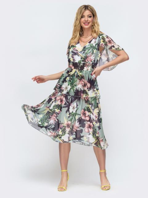Платье с принтом и вафельной резинкой по талии зеленое 46882, фото 1