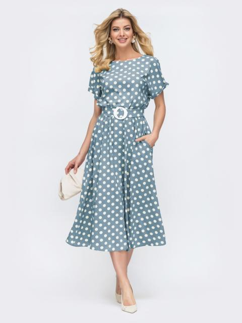 Платье в горох с расклешенной юбкой голубое 49735, фото 1