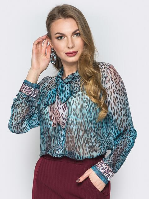 Принтованная блузка с воротником аскот голубая - 19383, фото 1 – интернет-магазин Dressa