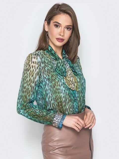26e3a73dd56 Принтованная блузка с воротником аскот зелёная 19384 – купить в ...