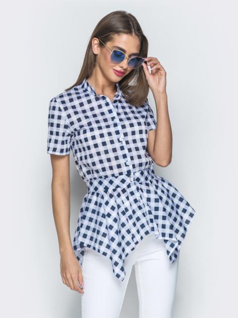 Синяя блузка в клетку с асимметричной баской - 39338, фото 1 – интернет-магазин Dressa