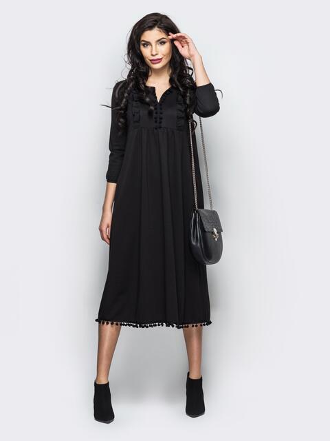 Трикотажное платье с завышенной талией и оборкой на полочке - 16253, фото 1 – интернет-магазин Dressa
