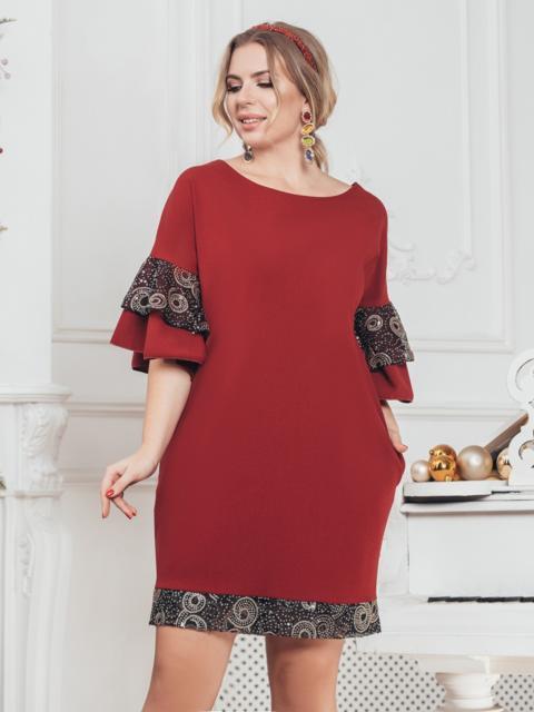 """Бордовое платье большого размера с вырезом """"лодочка"""" - 43215, фото 1 – интернет-магазин Dressa"""