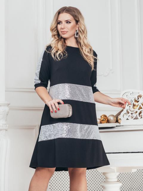 Чёрное платье большого размера с пайетками - 43212, фото 1 – интернет-магазин Dressa
