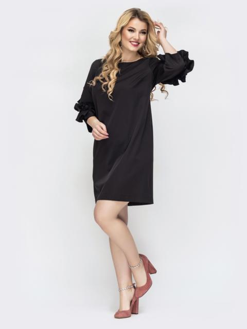 Чёрное платье большого размера с рюшами на рукавах - 44539, фото 1 – интернет-магазин Dressa
