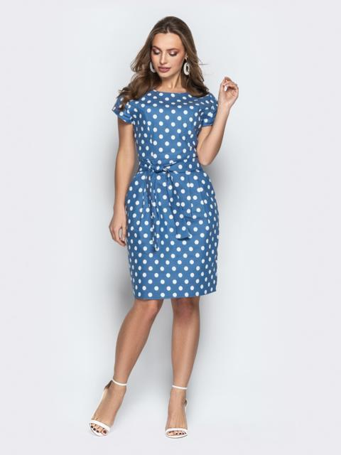 Голубое платье в горох приталенного кроя с поясом - 21246, фото 1 – интернет-магазин Dressa