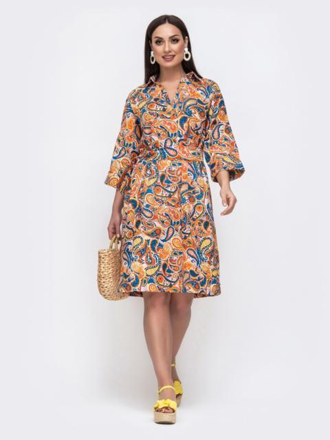 Хлопковое платье батал с принтом оранжевое 46219, фото 1