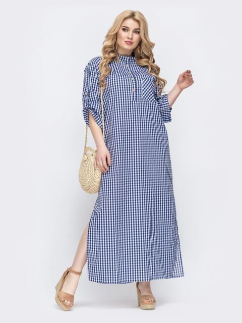 Хлопковое платье большого размера в клетку - 46217, фото 1 – интернет-магазин Dressa