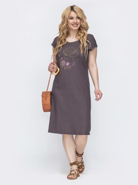 Коричневое платье прямого кроя батал 46221, фото 1