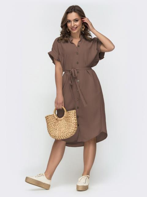 Коричневое платье-рубашка прямого кроя с цельнокроеным рукавом 49325, фото 1