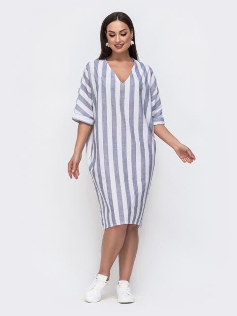 Льняное платье батал в широкую полоску серого цвета 46223, фото 1