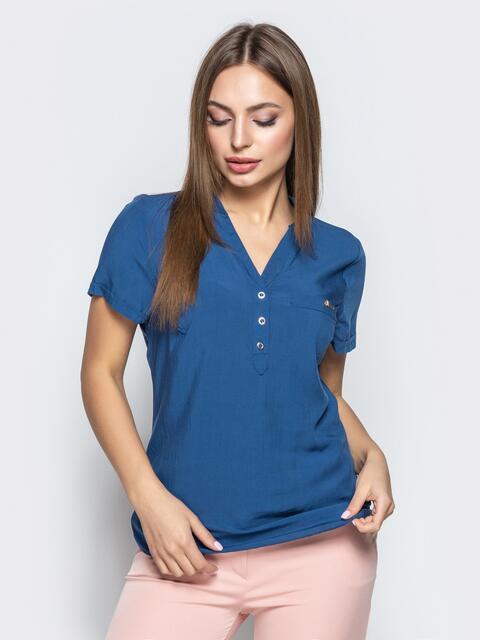 d142aefd151 Приталенная блузка синего цвета 21875 – купить в Киеве