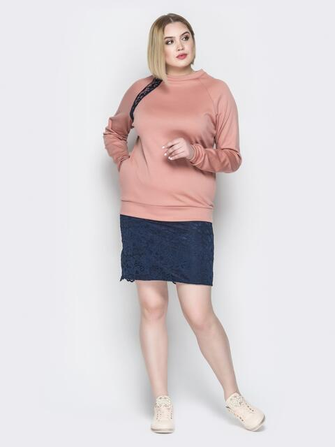 Розовое платье с имитацией свитшота и юбки - 19957, фото 1 – интернет-магазин Dressa