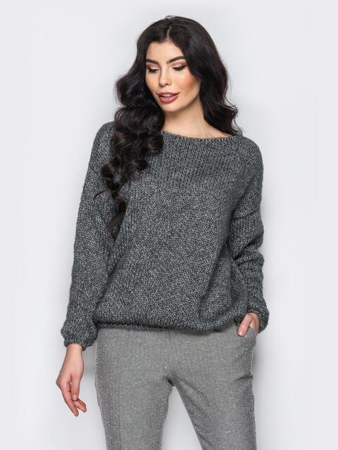 Свободный свитер со спущенным плечевым швом темно-серый - 13037, фото 1 – интернет-магазин Dressa