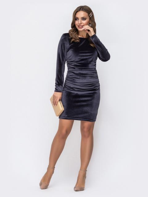 Тёмно-синее платье с бархатным напылением и драпировкой по талии 42957, фото 1