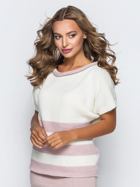Вязаный свитер белого цвета с розовыми полосами - 17119, фото 1 – интернет-магазин Dressa