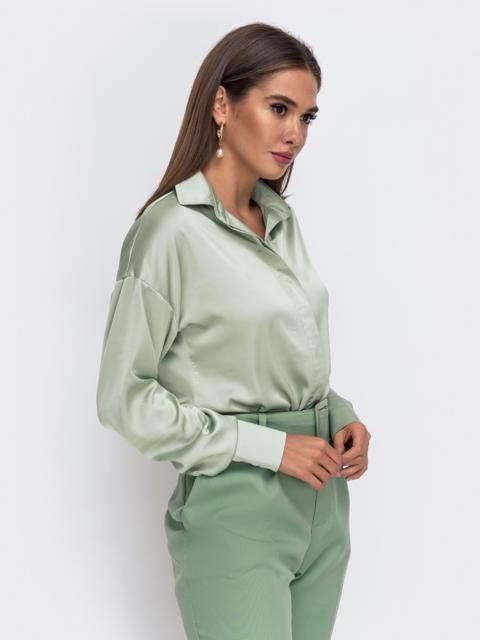 Зелёная блузка с отложным воротником и супатной застёжкой  50110, фото 1