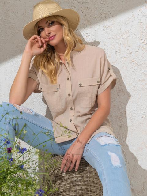 Бежевая блузка прямого кроя из хлопка - 49120, фото 1 – интернет-магазин Dressa
