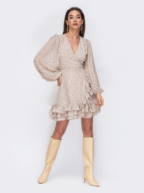 Бежевое платье из креп-шифона на запах с оборками 53477, фото 1