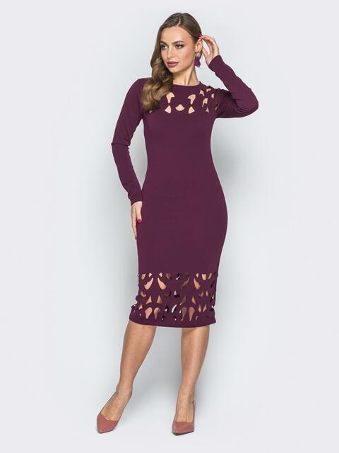 Бордовое платье-миди на молнии с перфорацией - 19305, фото 1 – интернет-магазин Dressa