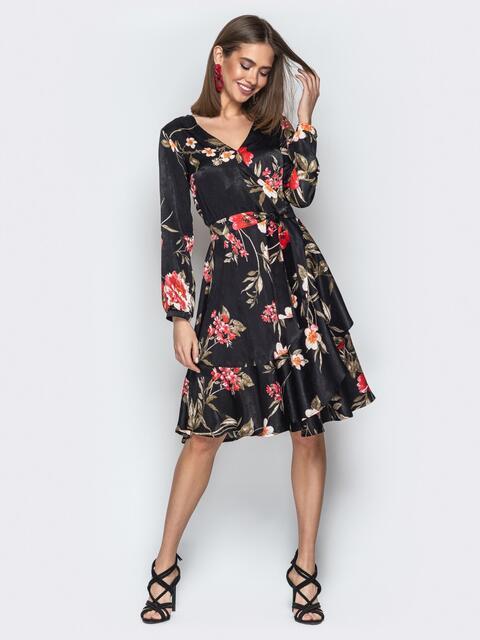 Чёрное платье с цветочным принтом и воланом - 20638, фото 1 – интернет-магазин Dressa