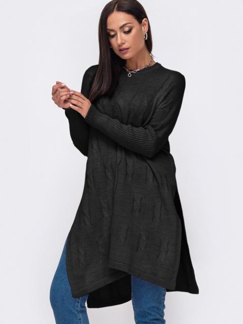 """Черный свитер батал с рукавами """"резинка"""" 51917, фото 1"""