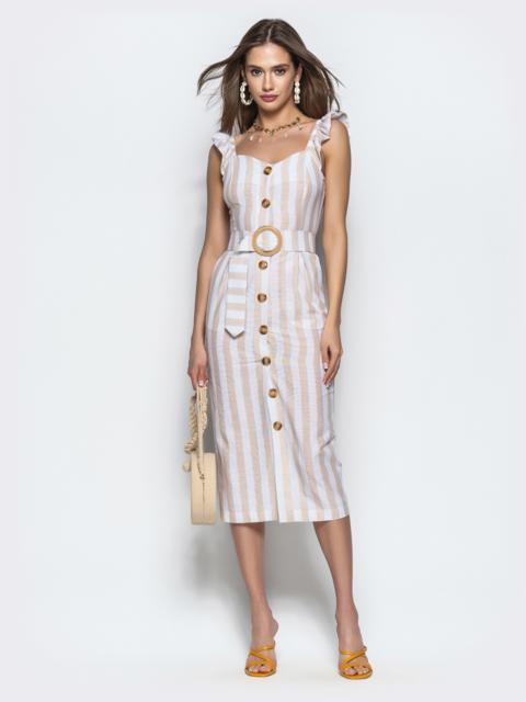 Хлопковое платье в широкую полоску на пуговицах бежевое - 22060, фото 1 – интернет-магазин Dressa