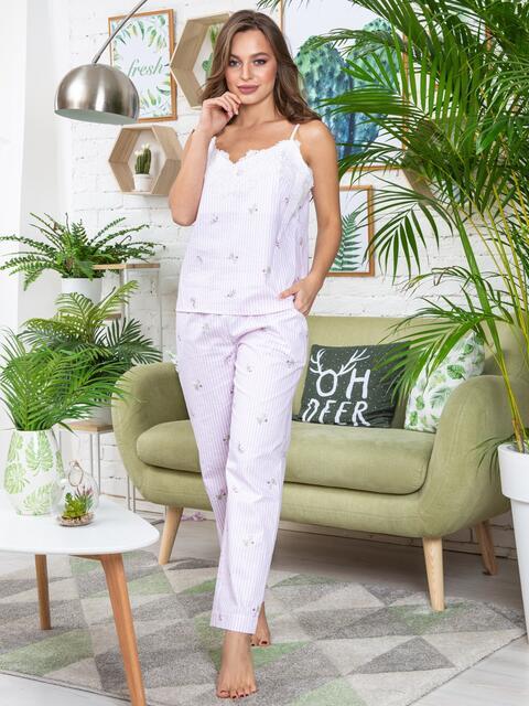 Пижама в полоску из топа с гипюром и брюк пудровая - 20701, фото 1 – интернет-магазин Dressa