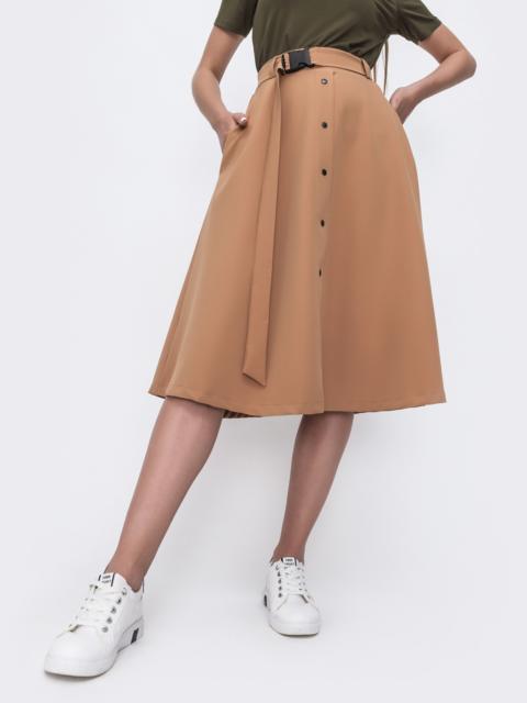 Расклешенная юбка-миди с карманами бежевая 49395, фото 1