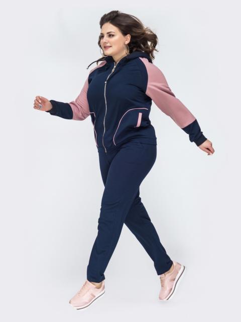Спортивный костюм большого размера с кофтой тёмно-синий 44556, фото 1