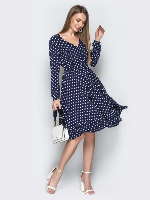 Тёмно-синее платье в горошек с V-вырезом и воланом - 20639, фото 1 – интернет-магазин Dressa