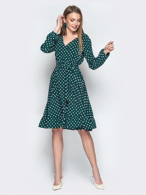 Зелёное платье в горошек с V-вырезом и воланом - 20641, фото 1 – интернет-магазин Dressa