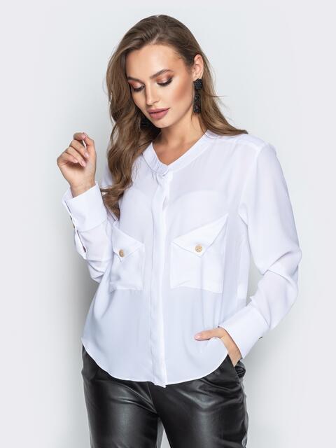Белая блузка с асимметричными карманами - 19965, фото 1 – интернет-магазин Dressa