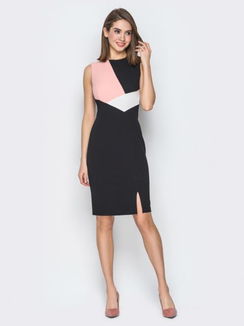 Чёрное платье-футляр с контрастными вставками - 19744, фото 1 – интернет-магазин Dressa