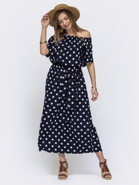 Длинное платье в горох с резинкой по талии тёмно-синее 46608, фото 1