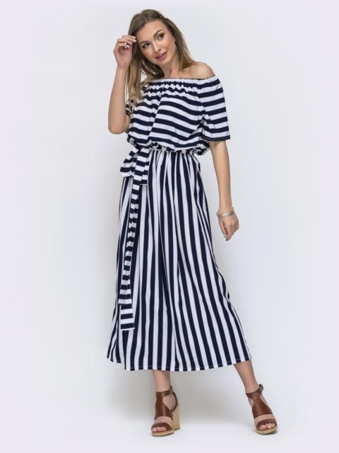 Длинное платье в полоску с резинкой по талии тёмно-синее 46607, фото 1