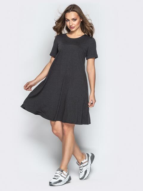 Платье-трапеция из вискозы с коротким рукавом серое - 20765, фото 1 – интернет-магазин Dressa