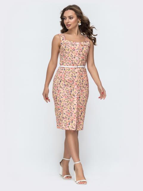 Приталенный сарафан с принтом на широких бретелях розовый - 47477, фото 1 – интернет-магазин Dressa