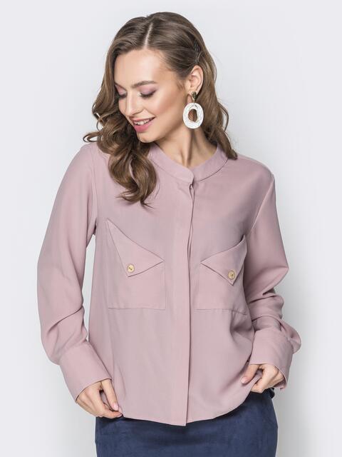 Пудровая блузка с асимметричными карманами - 19964, фото 1 – интернет-магазин Dressa