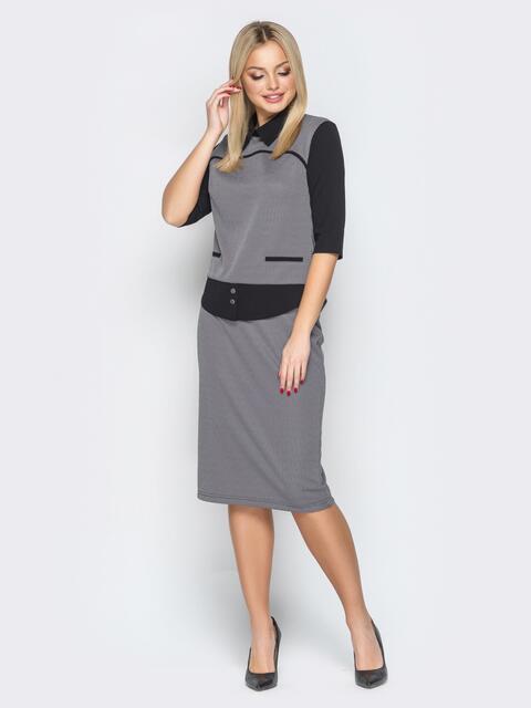 Серый комплект декорированный карманами на кофте - 19338, фото 1 – интернет-магазин Dressa