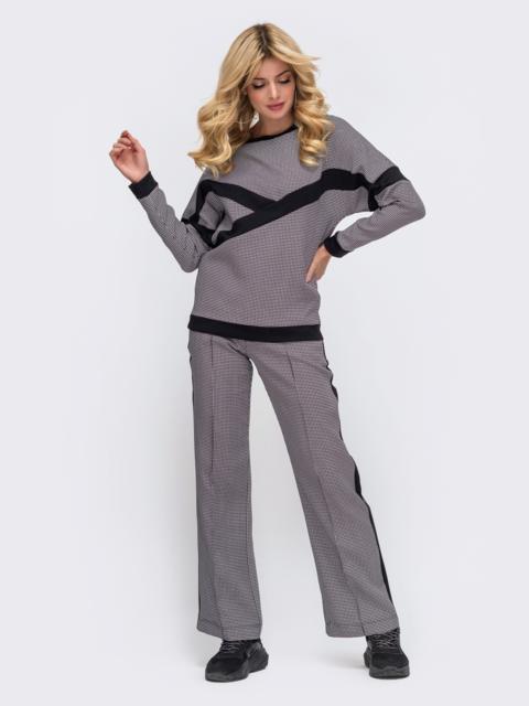Серый комплект в спортивном стиле из кофты и брюк  50632, фото 1