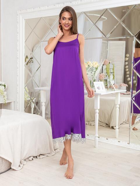 Сиреневая ночная сорочка с оборкой - 20467, фото 1 – интернет-магазин Dressa